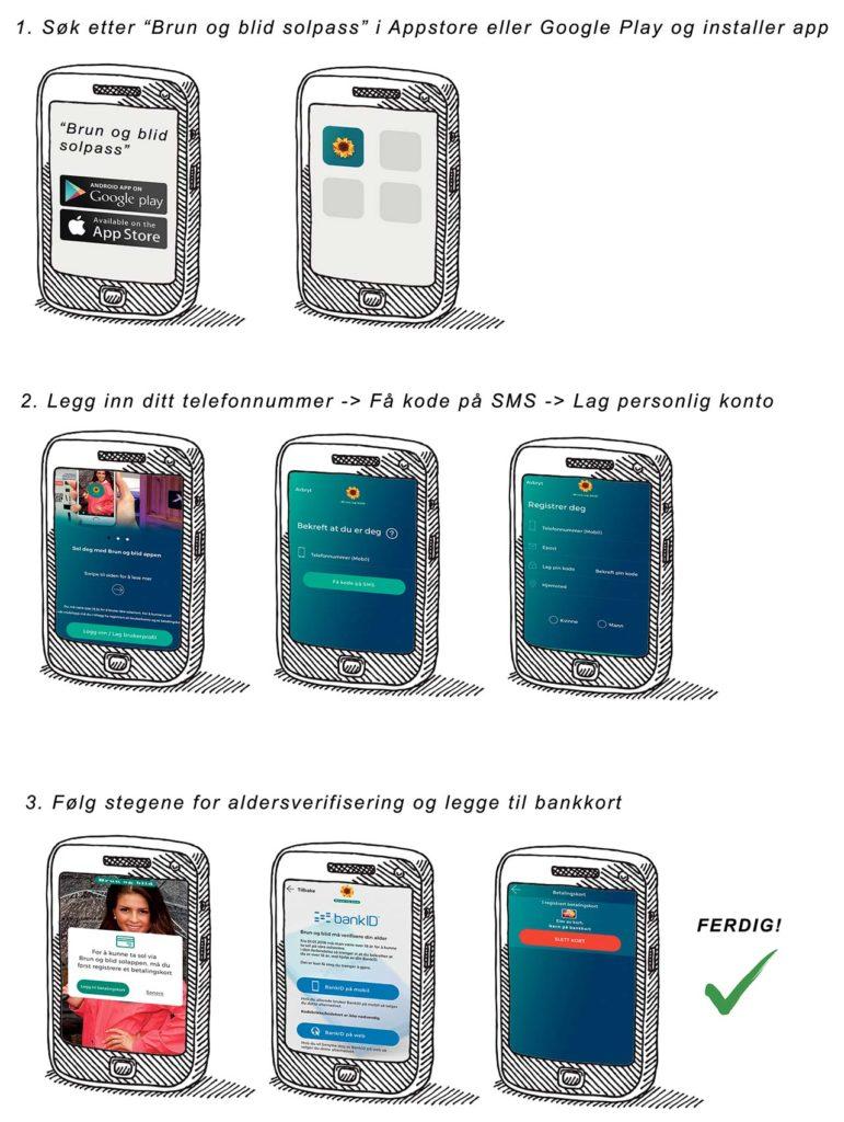Brun og blid Solplass app - kom i gang på mobil